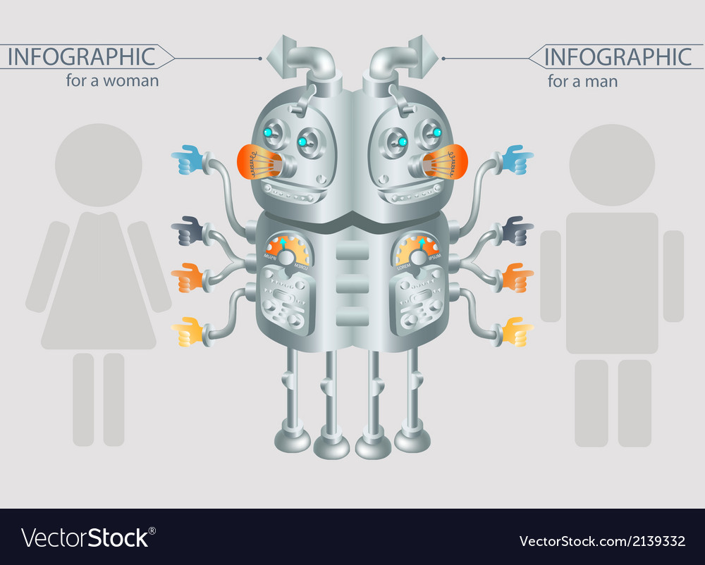 Robot infographic design gender statistic eps10 vector | Price: 1 Credit (USD $1)