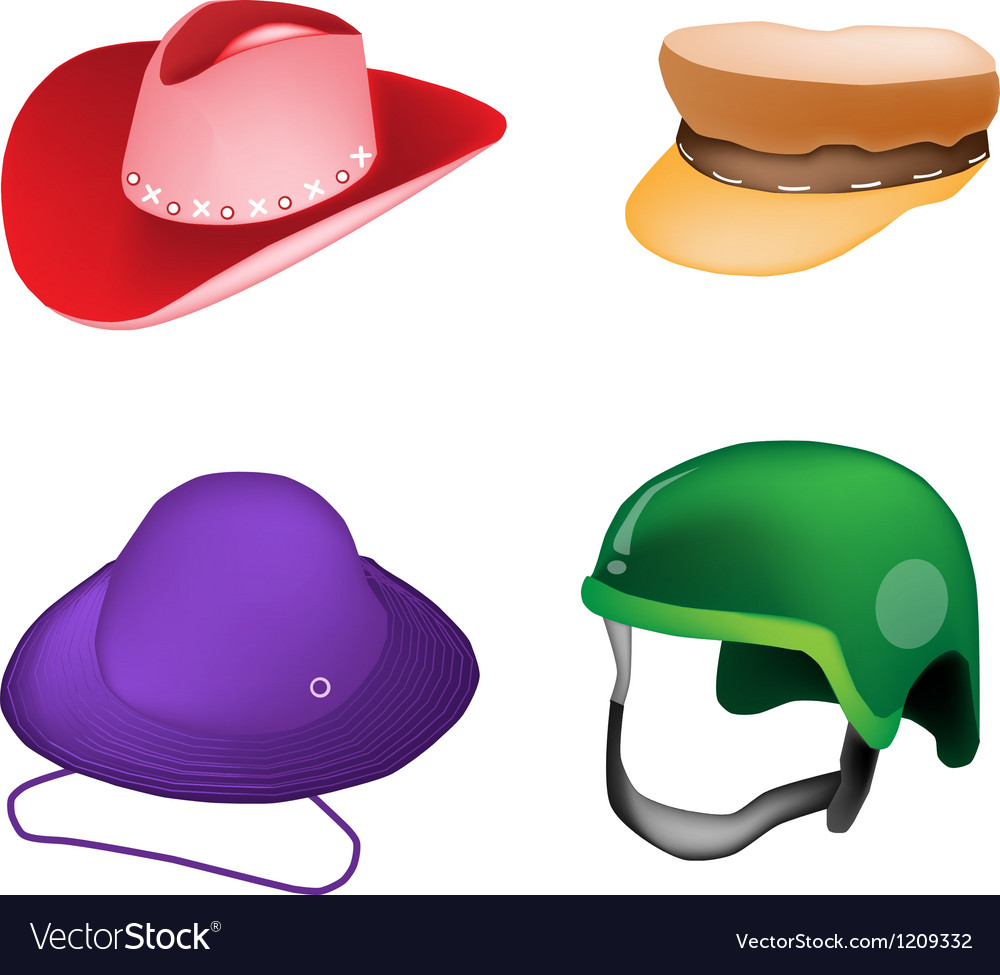 Set of hats and helmet on white background vector | Price: 1 Credit (USD $1)