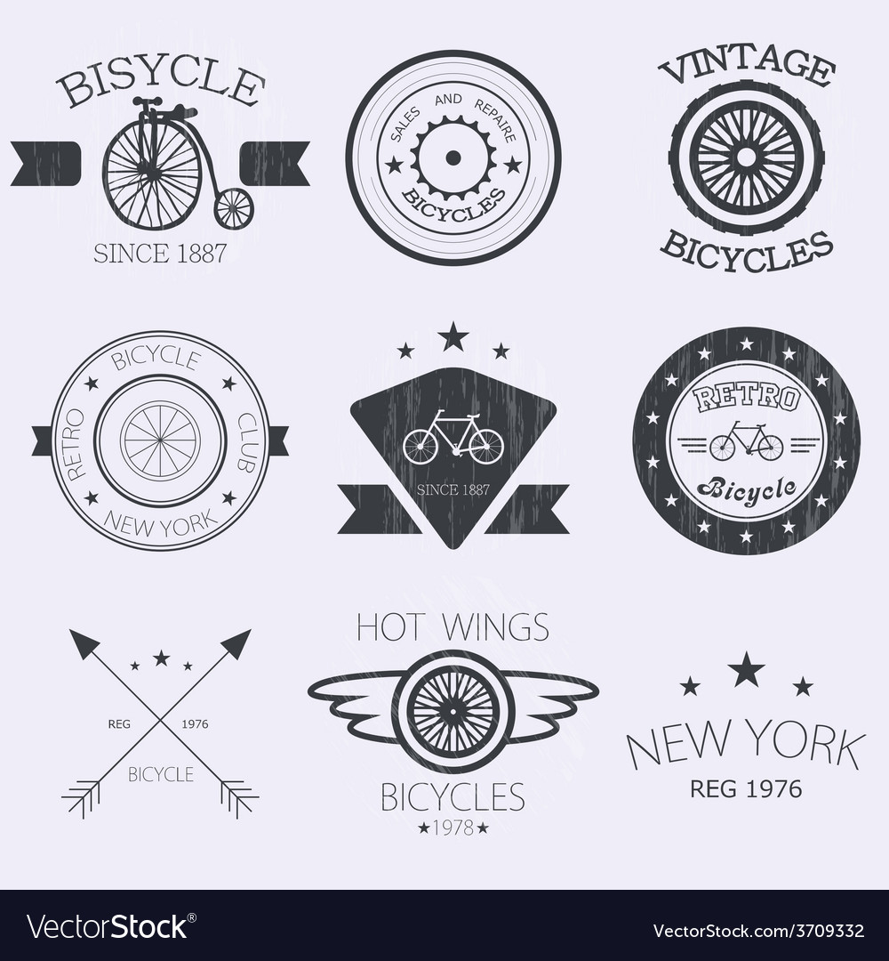 Set of old bikes shop logo set vector | Price: 1 Credit (USD $1)