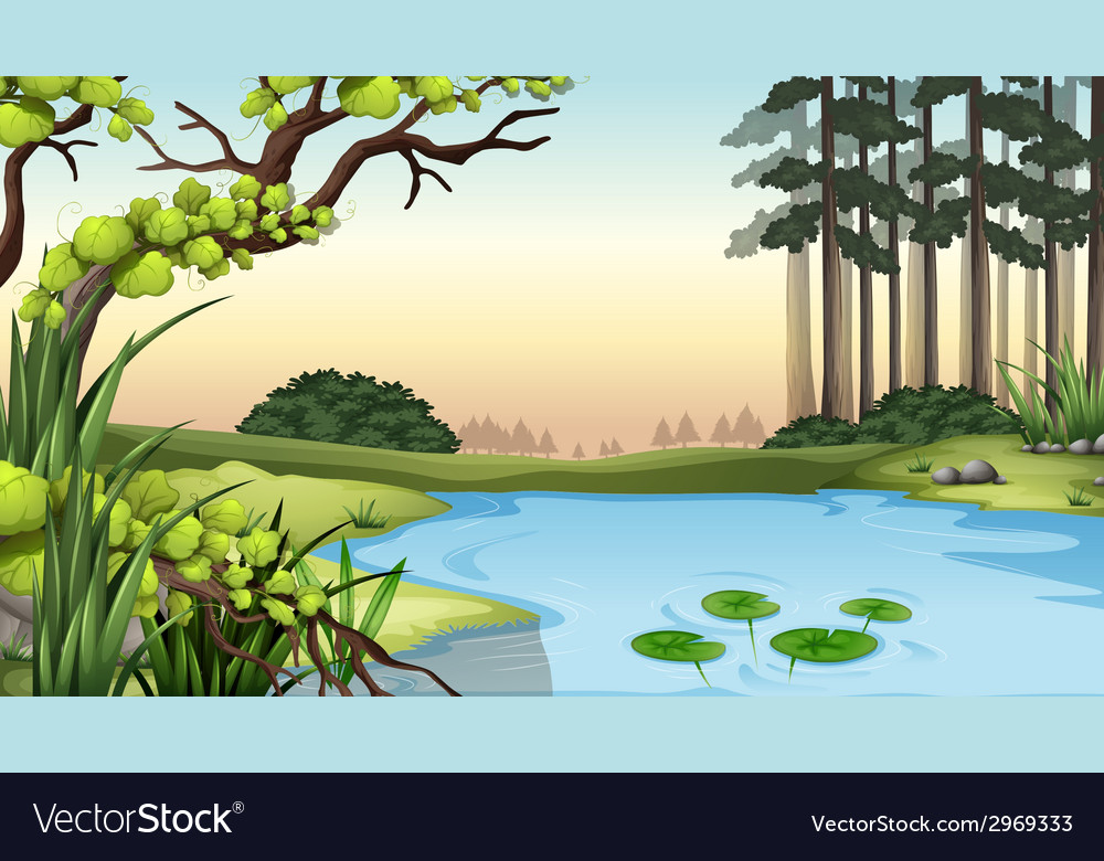 A pond at the jungle vector | Price: 1 Credit (USD $1)