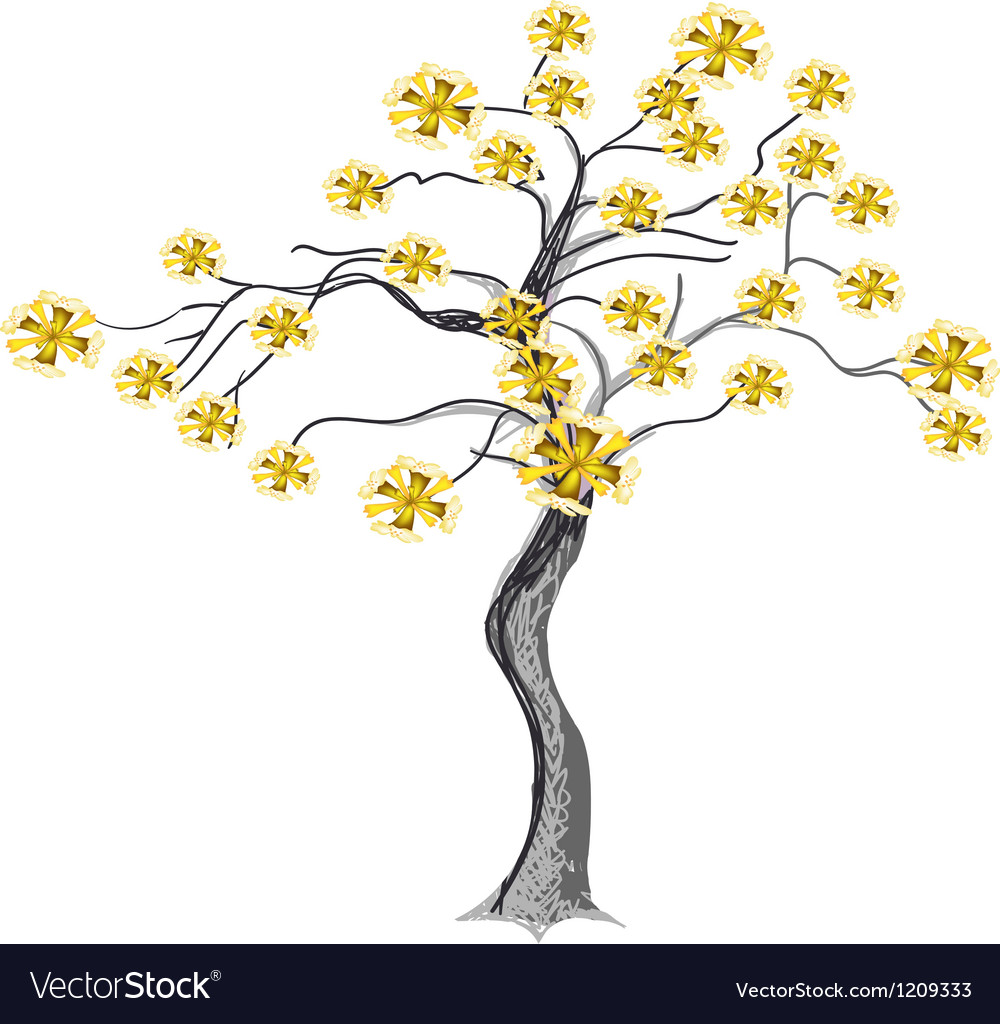 Beautiful yellow flowers on tree vector | Price: 1 Credit (USD $1)
