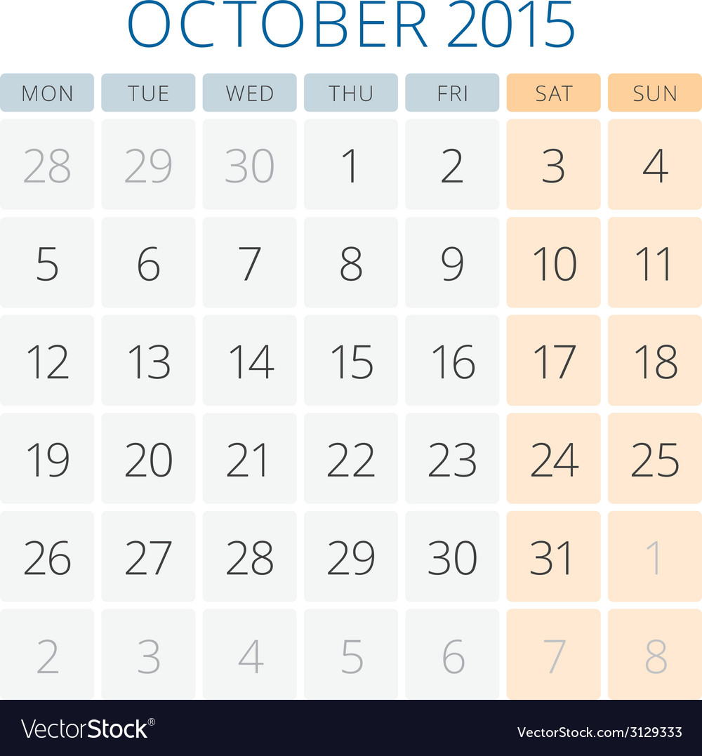 Calendar 2015 october design template vector | Price: 1 Credit (USD $1)