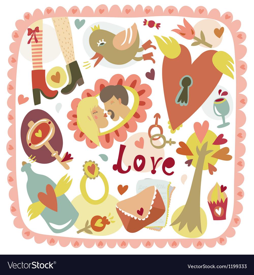 Colorful cartoon romantic love background vector | Price: 1 Credit (USD $1)