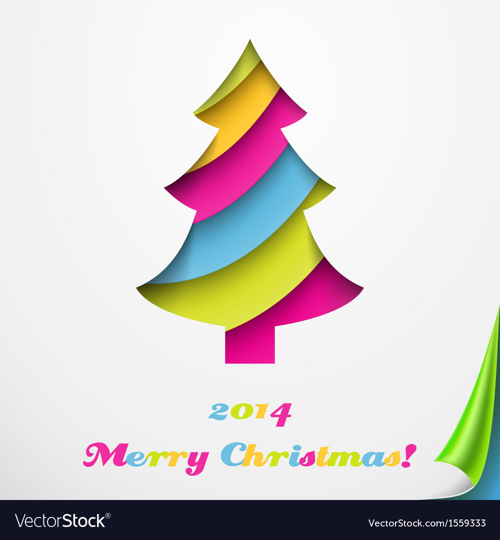 Colorful merry christmas greeting card with tree vector | Price: 1 Credit (USD $1)