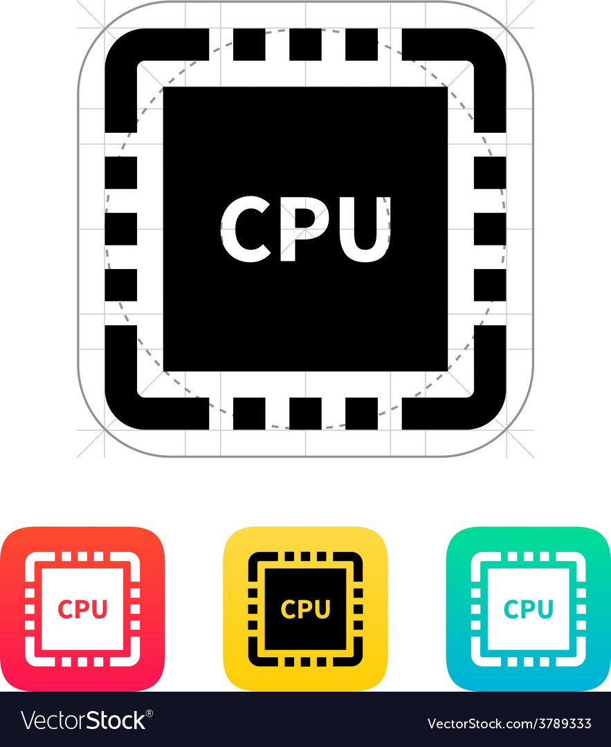 Cpu with name icon vector | Price: 1 Credit (USD $1)