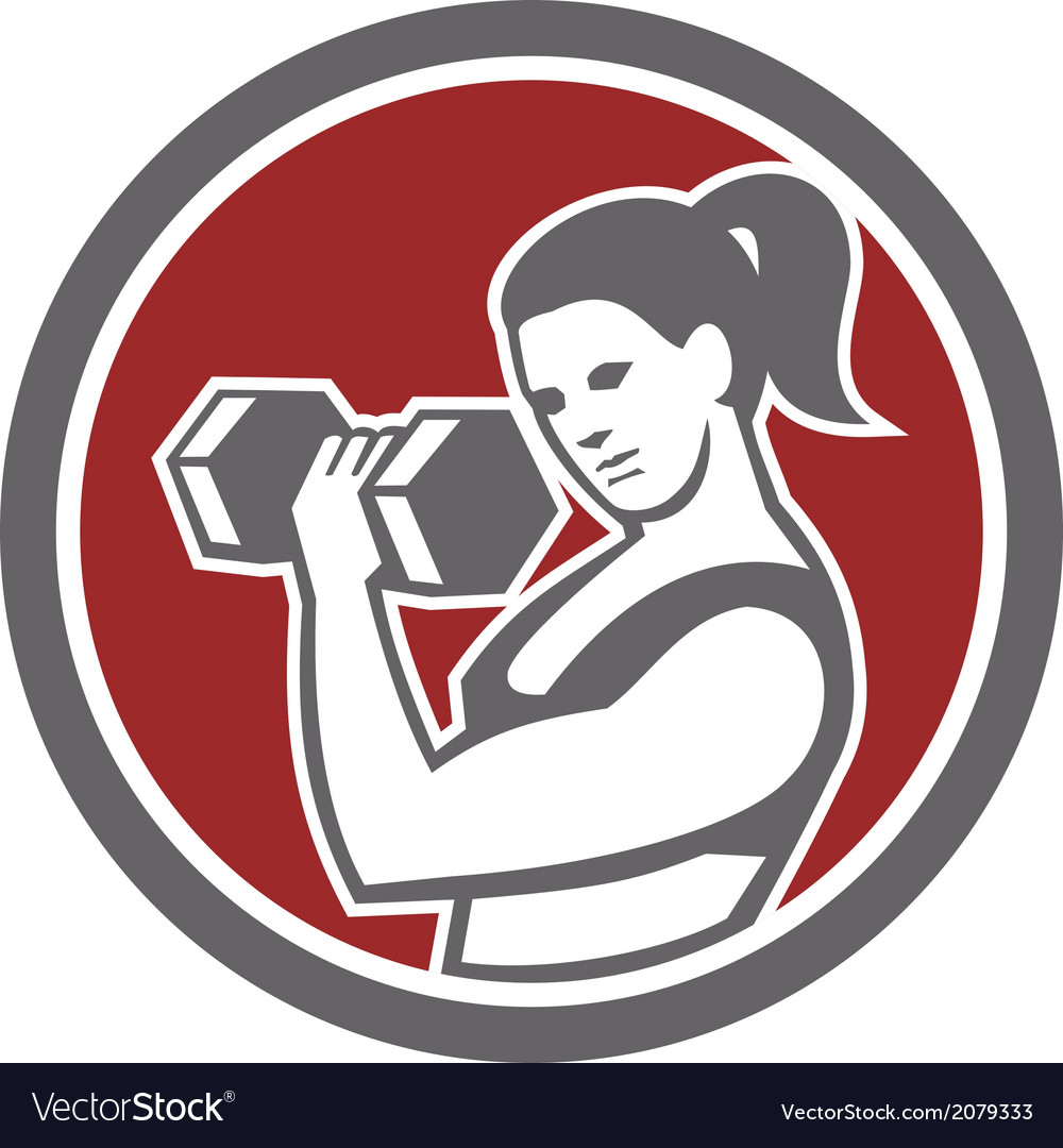 Female lifting dumbbell fitness circle vector | Price: 1 Credit (USD $1)
