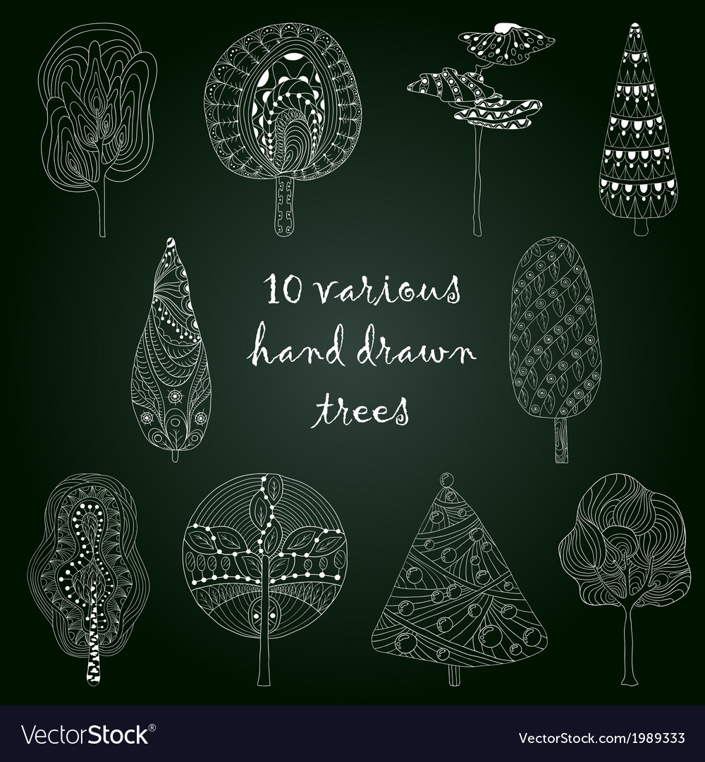 Hand drawn trees isolated sketch doodle style vector | Price: 1 Credit (USD $1)