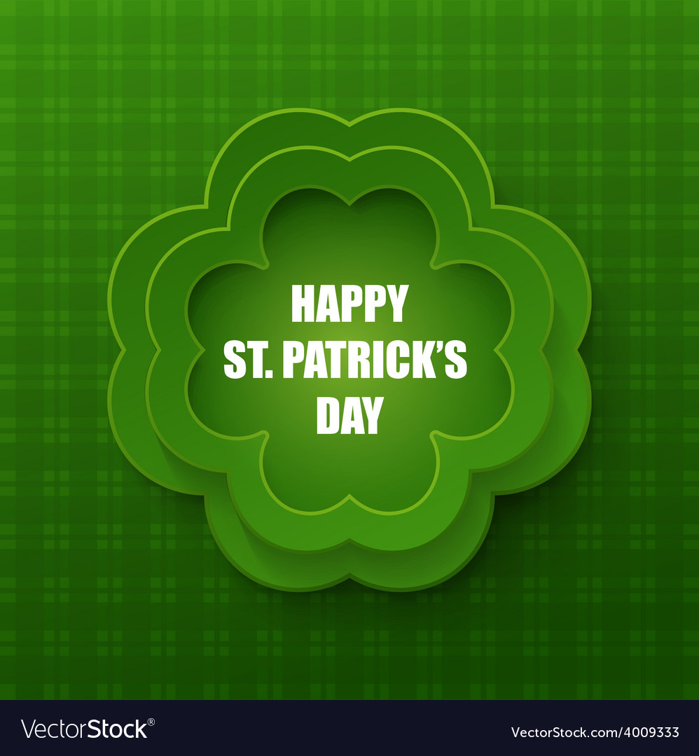 Happy st patrick day poster clover frame vector | Price: 1 Credit (USD $1)
