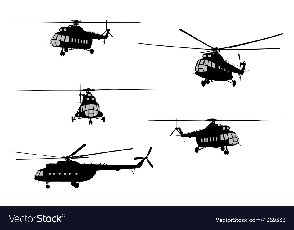 Helicopter of set silhouette vector | Price: 1 Credit (USD $1)
