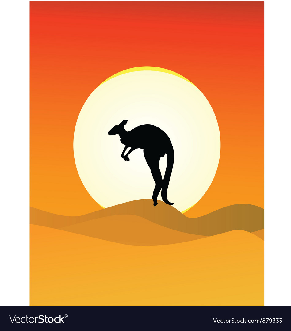 Kangaroo sunset vector | Price: 1 Credit (USD $1)