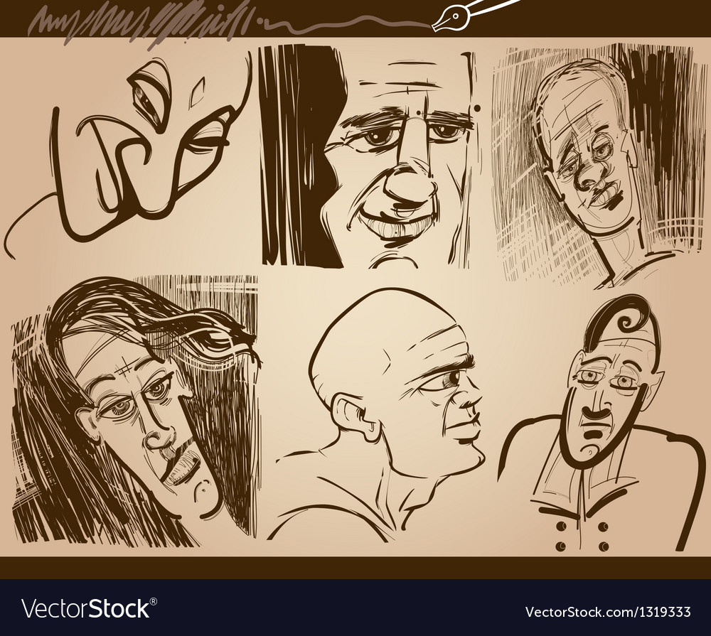People faces caricature sketch drawings set vector | Price: 1 Credit (USD $1)