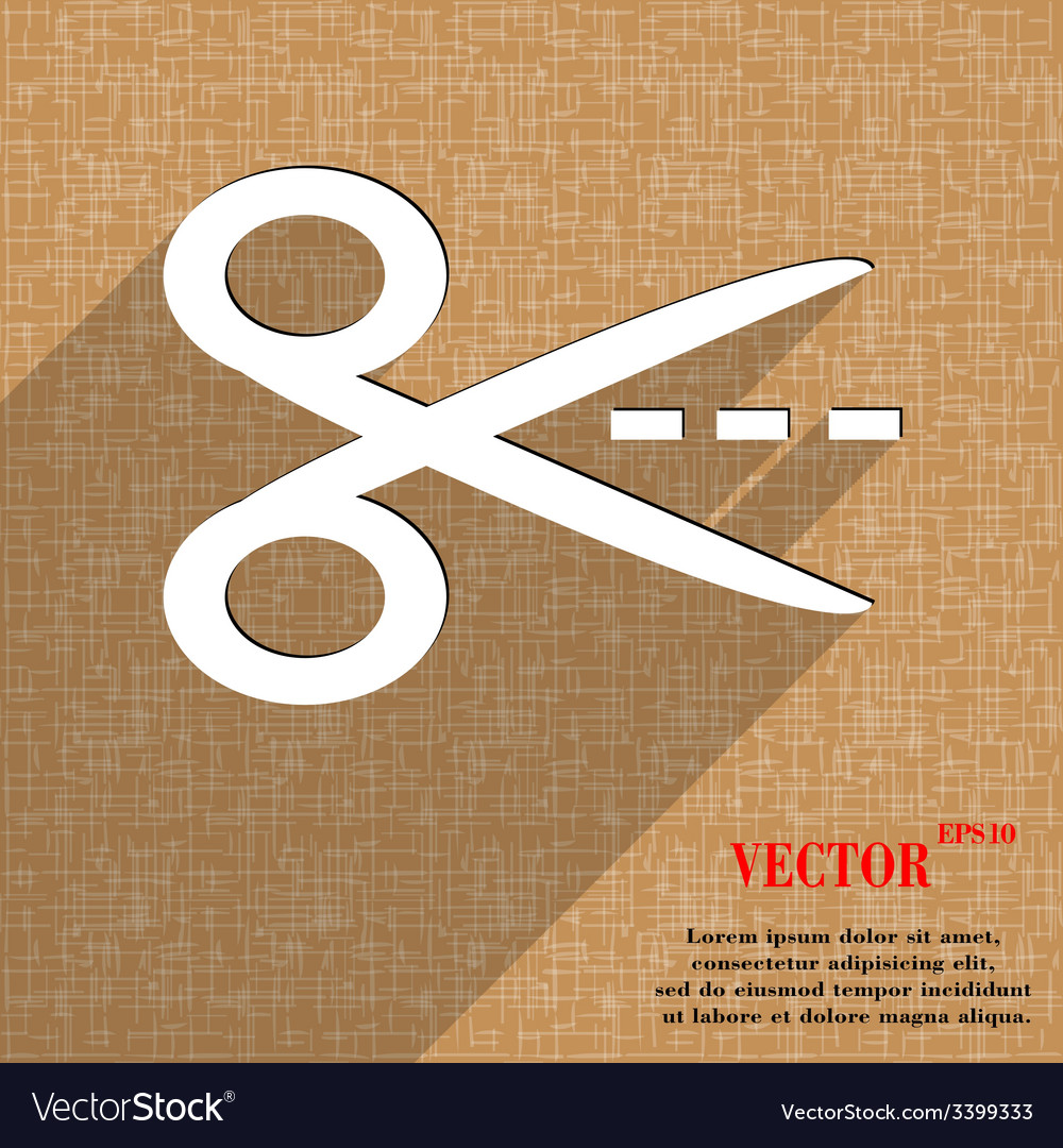 Scissors cut dash dotted line icon symbol flat vector | Price: 1 Credit (USD $1)