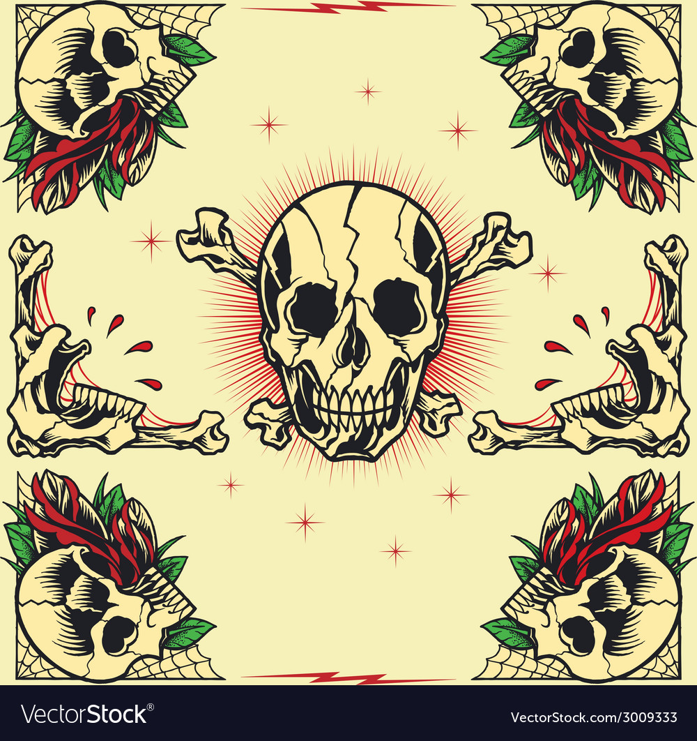 Skull and rose frames vector | Price: 1 Credit (USD $1)
