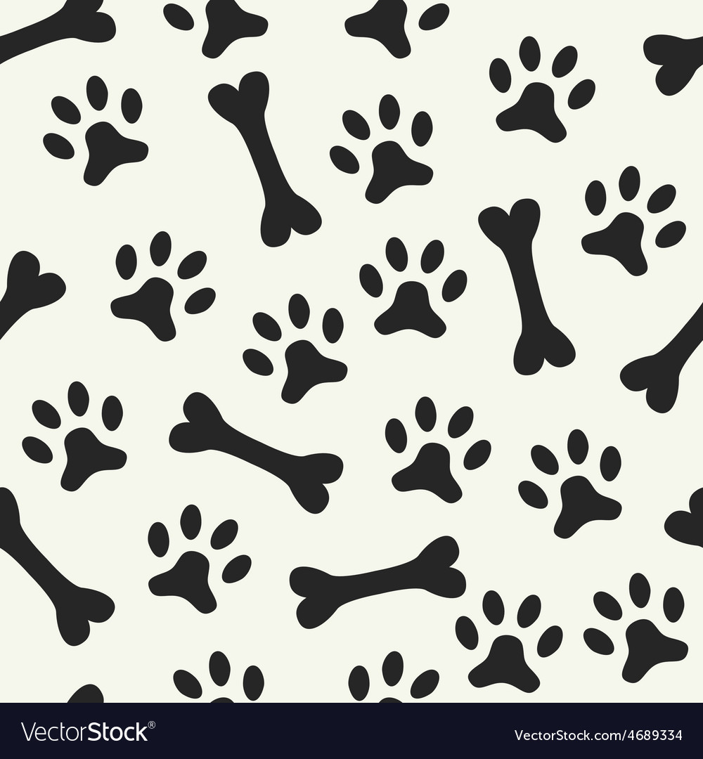 Animal seamless pattern of paw footprint vector | Price: 1 Credit (USD $1)