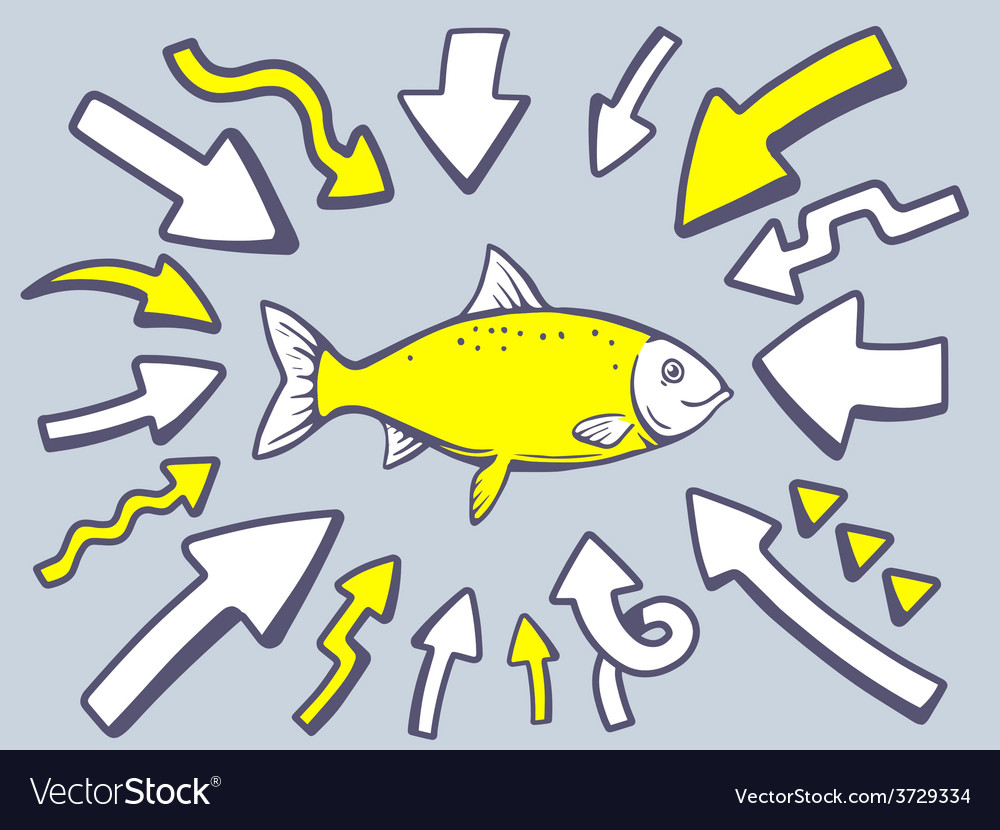 Arrows point to icon of fish on gray back vector | Price: 1 Credit (USD $1)