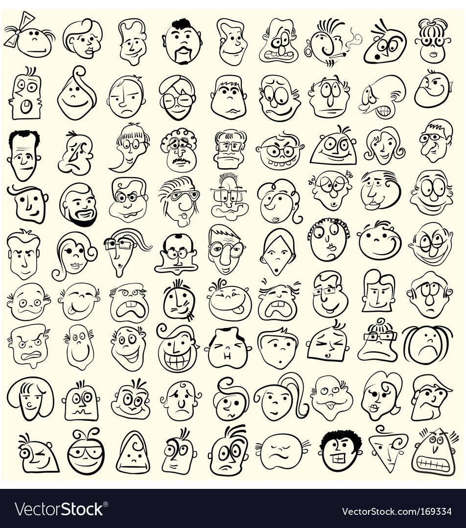Doodle cartoon face caricature vector   Price: 3 Credit (USD $3)