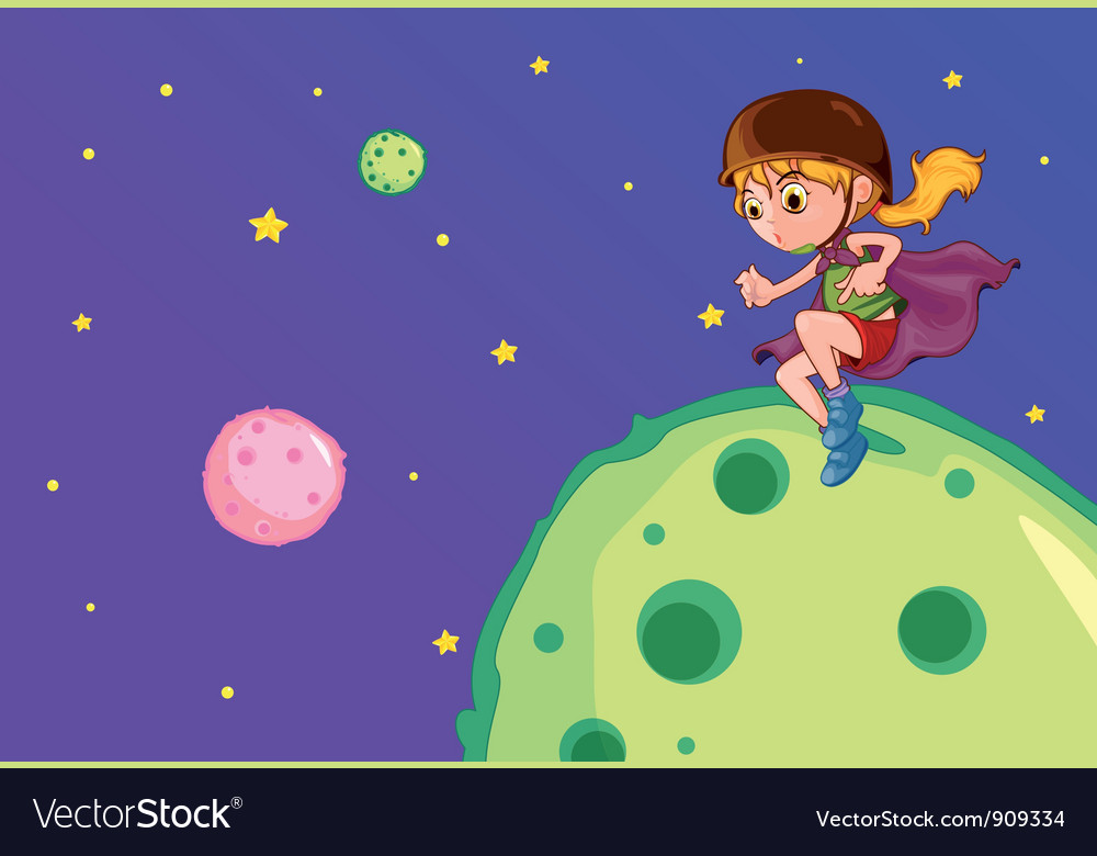 Girl on the moon vector | Price: 3 Credit (USD $3)