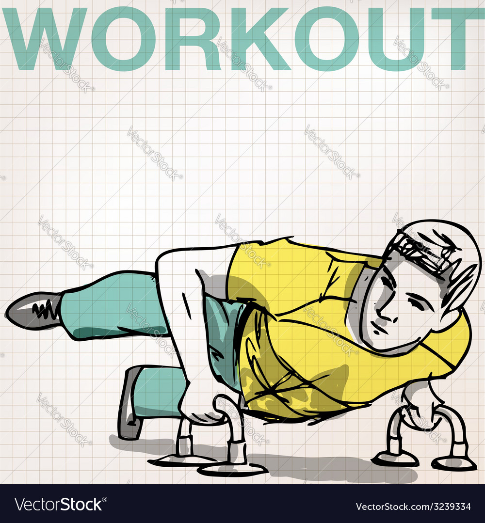 Man doing push-ups bars vector | Price: 1 Credit (USD $1)