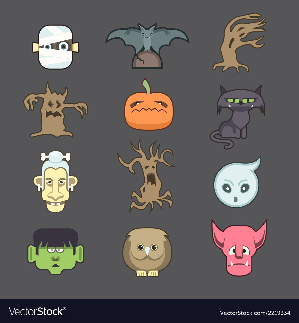 Spooky halloween creatures vector | Price: 1 Credit (USD $1)