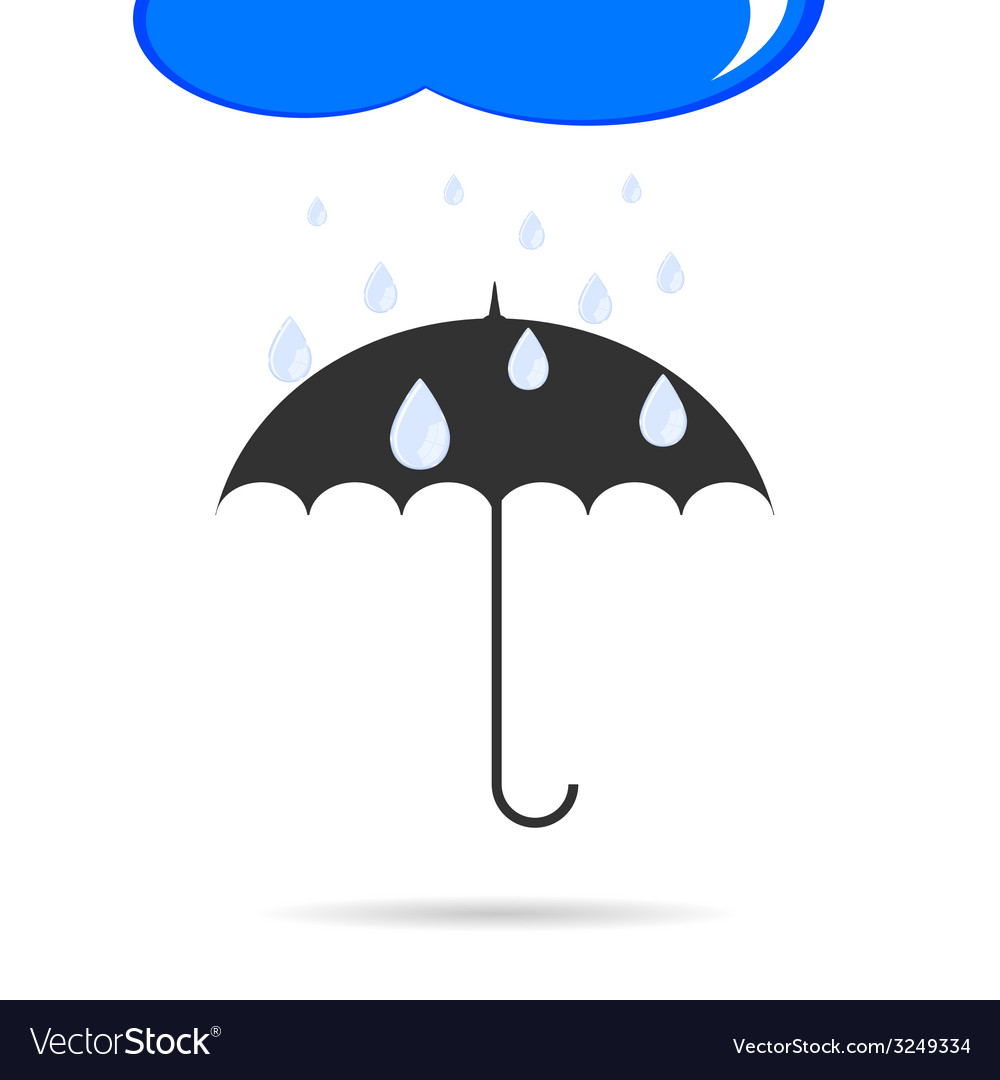 Umbrella with rain color vector | Price: 1 Credit (USD $1)