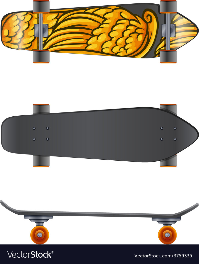 A skateboard in different angles vector | Price: 1 Credit (USD $1)