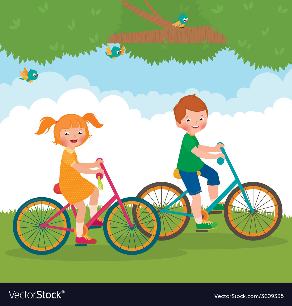 Children ride on the bike vector | Price: 1 Credit (USD $1)