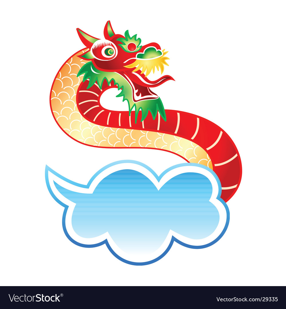 Chinese dragon at the sky vector | Price: 1 Credit (USD $1)