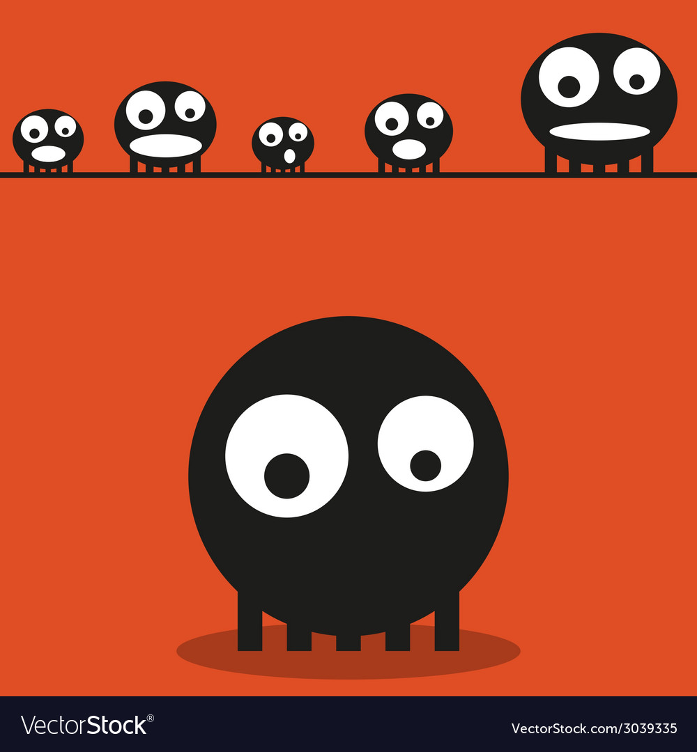 Cute monsters halloween background vector | Price: 1 Credit (USD $1)