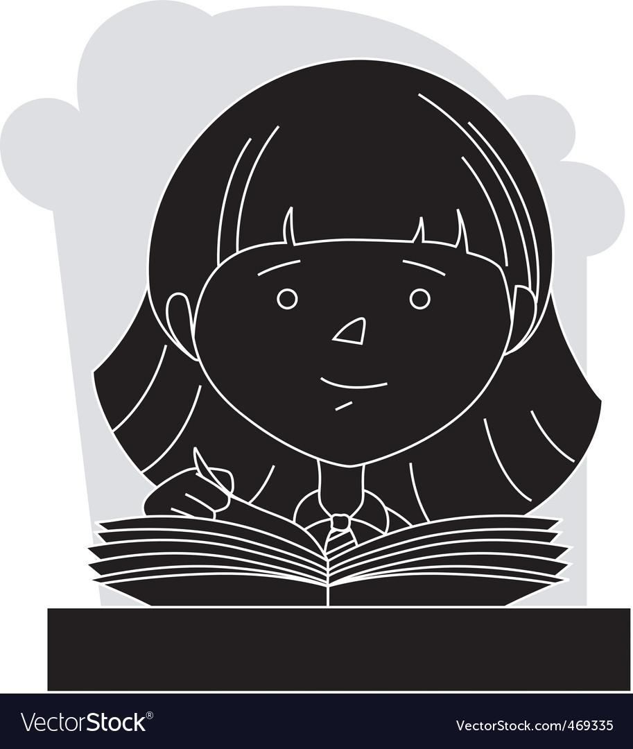 Girl reading vector | Price: 1 Credit (USD $1)
