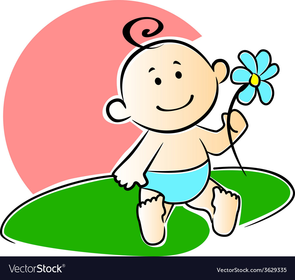 Happy adorable infant playing with a flower vector | Price: 1 Credit (USD $1)