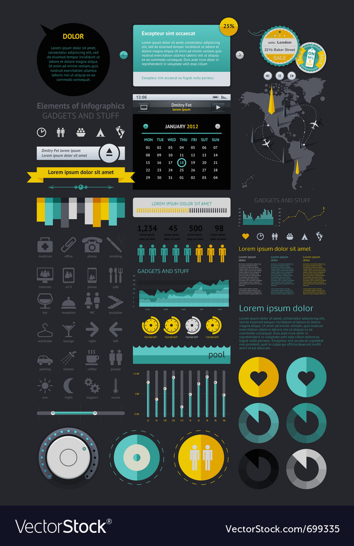 Infographics with buttons and menus vector | Price: 1 Credit (USD $1)