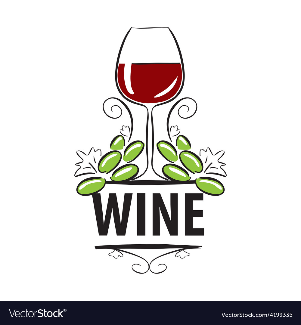 Logo glasses of wine and grapes vector | Price: 1 Credit (USD $1)