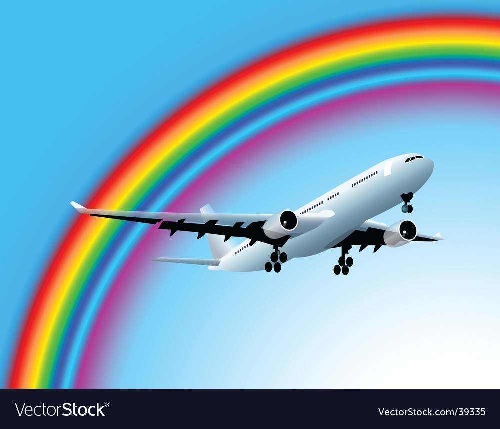 Plane and rainbow vector | Price: 1 Credit (USD $1)