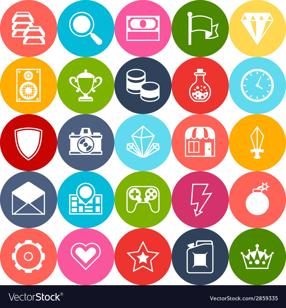 Set of game icons in flat design style vector   Price: 1 Credit (USD $1)