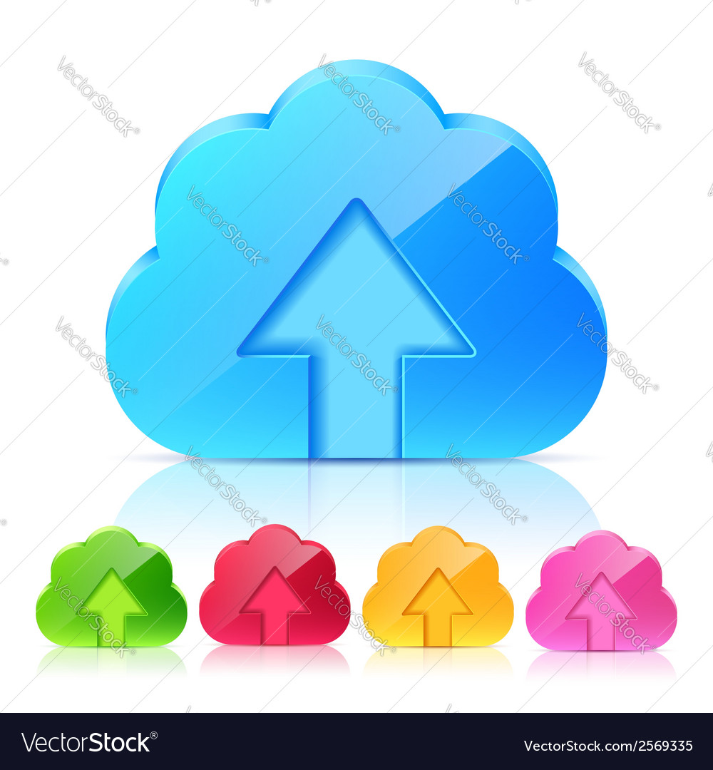 Set of upload cloud icons vector | Price: 1 Credit (USD $1)