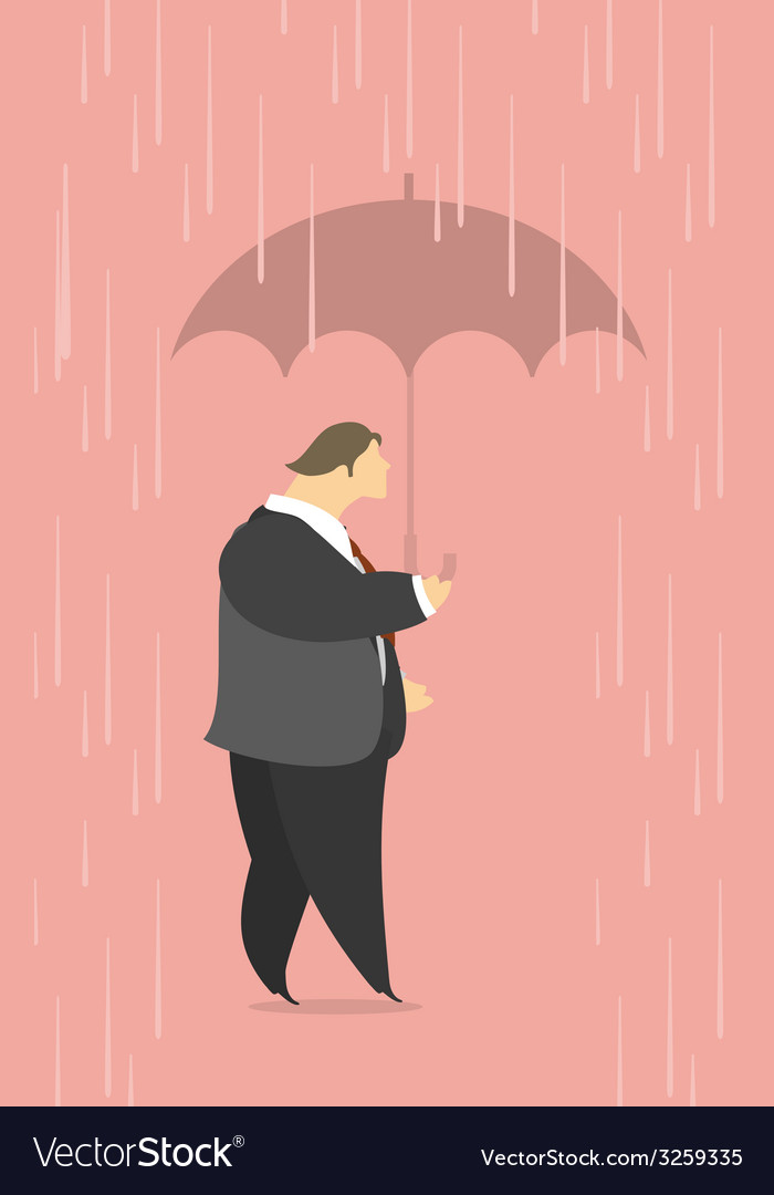 Stylized man under an umbrella in the rain vector   Price: 1 Credit (USD $1)