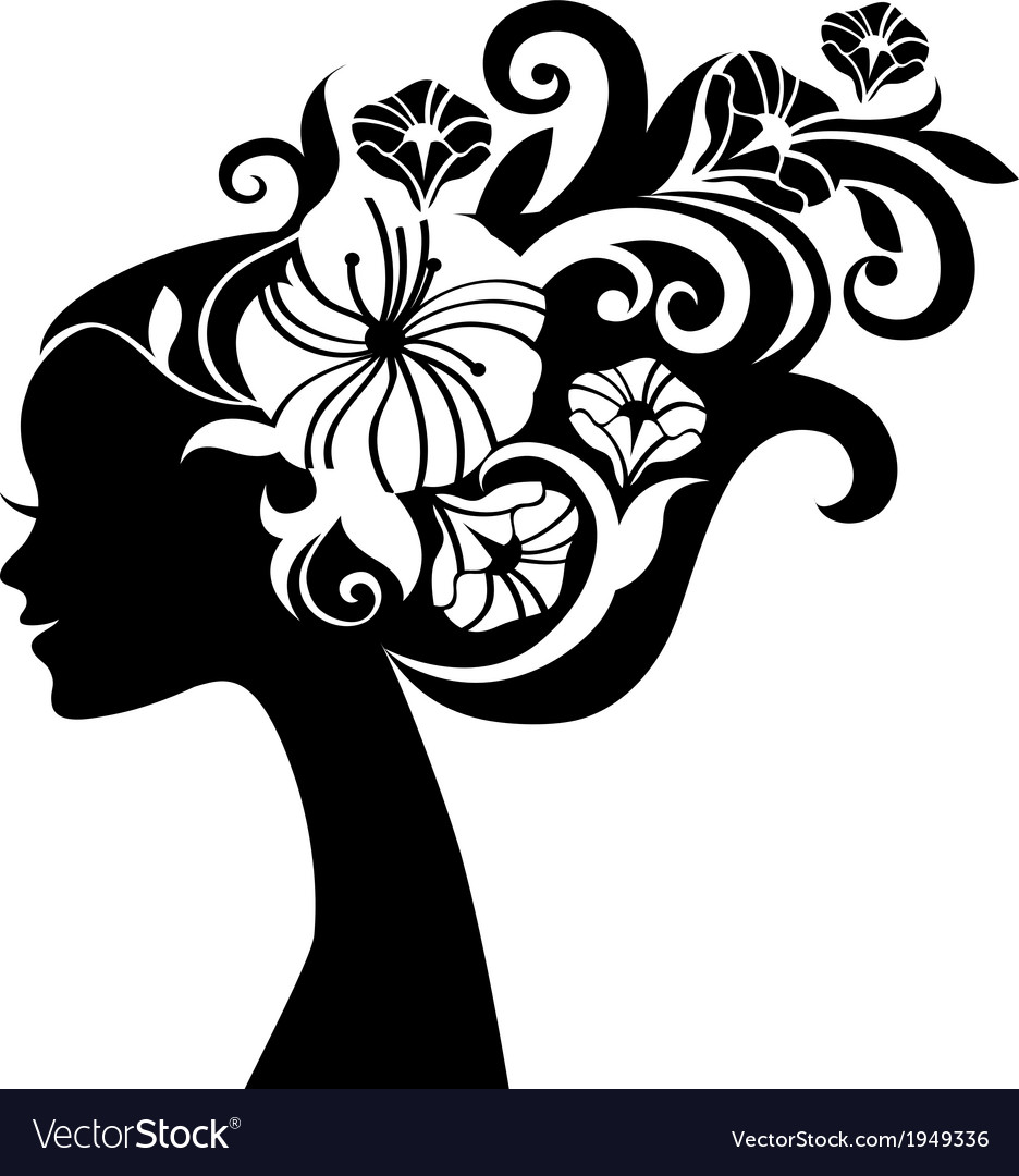 Beautiful woman silhouette with flowers vector | Price: 1 Credit (USD $1)