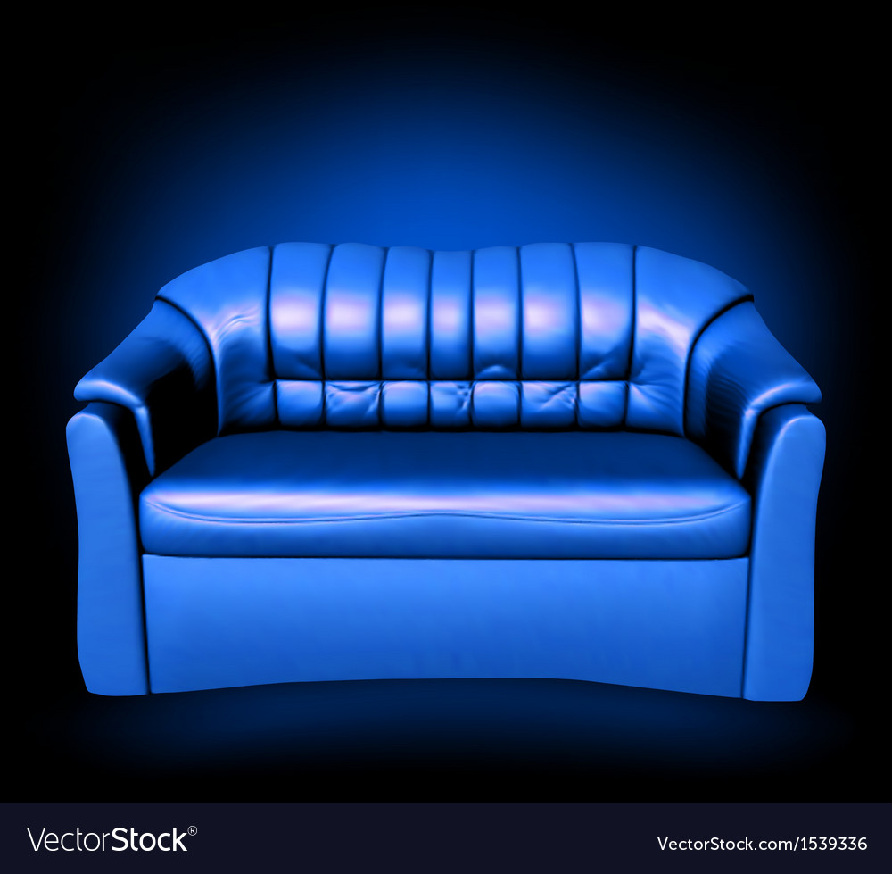 Blue leather sofa vector | Price: 1 Credit (USD $1)