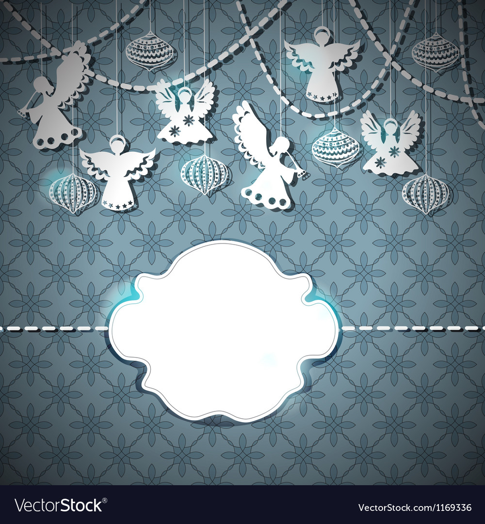 Christmas card with paper angels vector | Price: 1 Credit (USD $1)