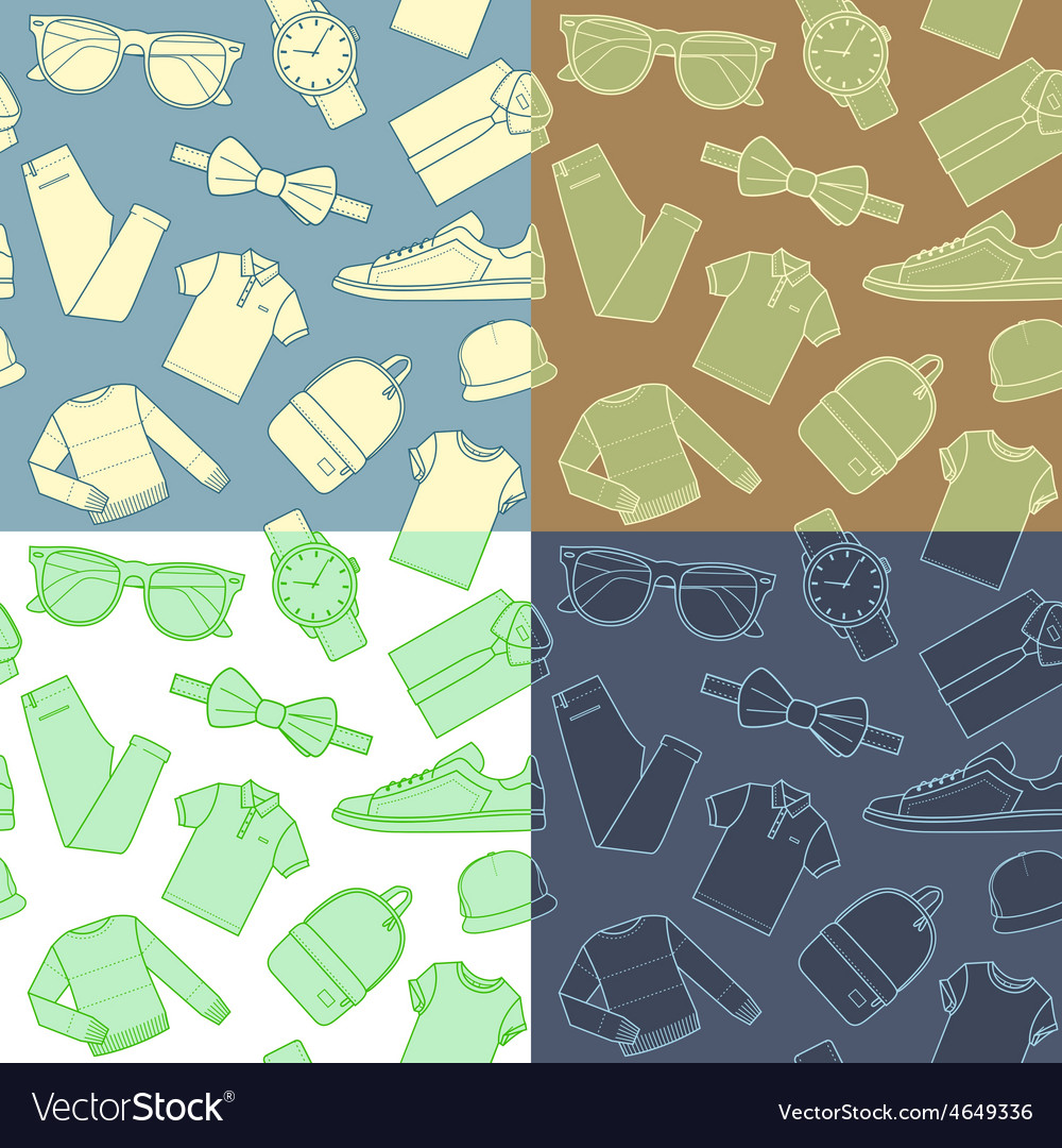 Collection of menswear backgrounds vector
