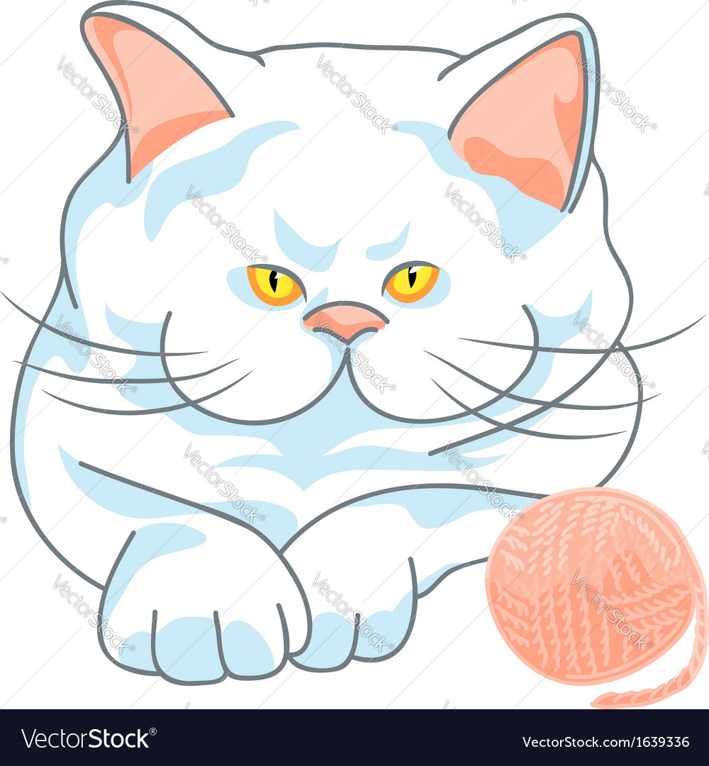 Cute white cat with yellow eyes and ball of yarn vector   Price: 1 Credit (USD $1)