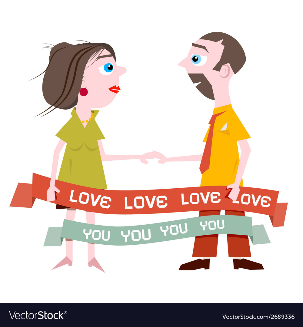Man and woman holding hands with love you title on vector | Price: 1 Credit (USD $1)