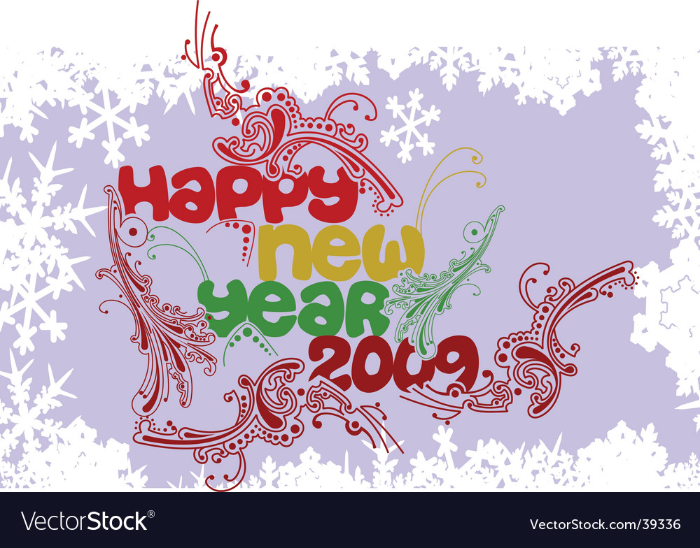 Multicolored happy new year 2009 vector | Price: 1 Credit (USD $1)