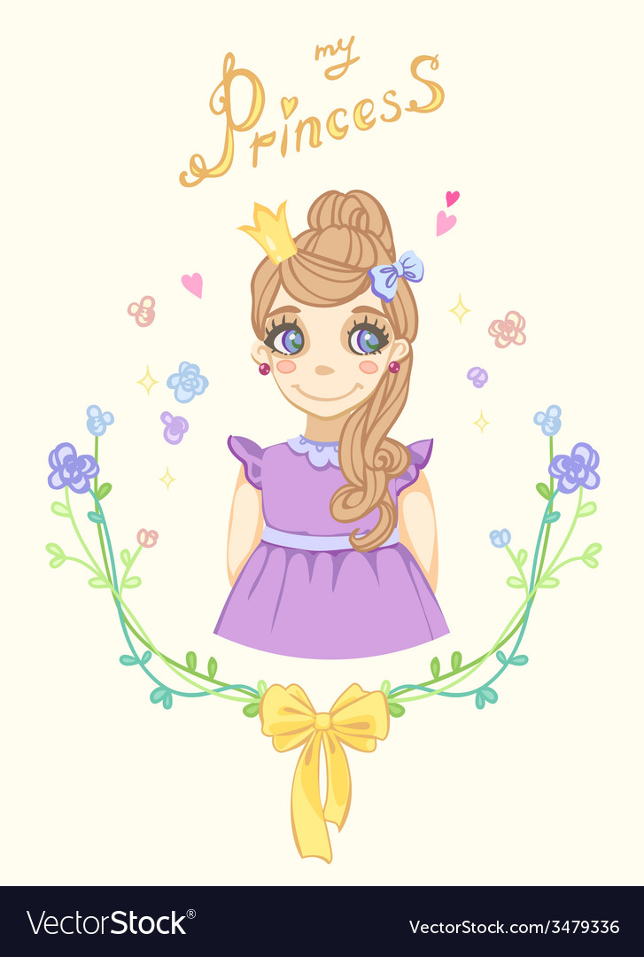 Princess girl in floral frame with crown vector | Price: 1 Credit (USD $1)