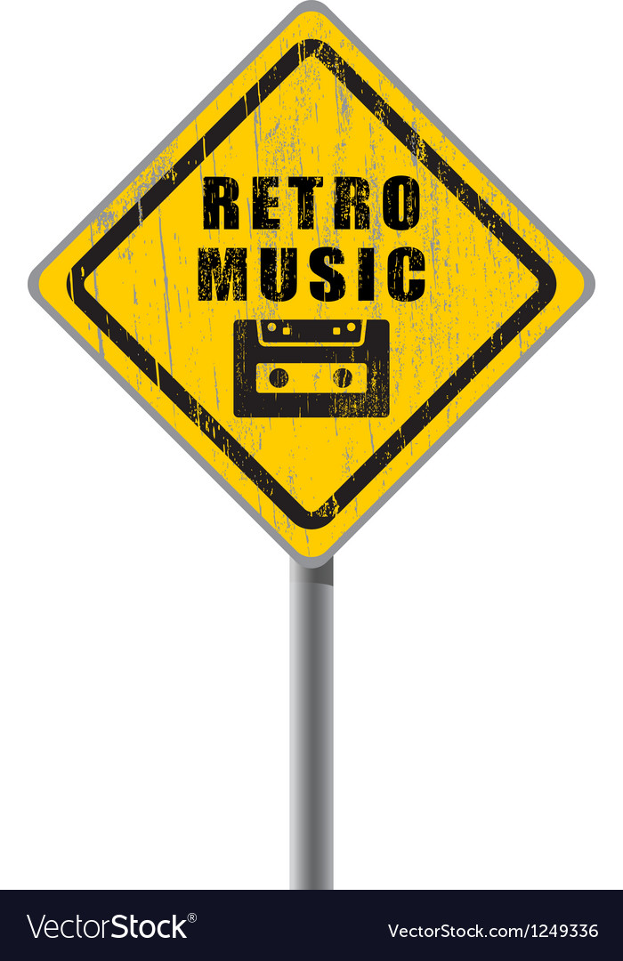 Retro music old scratched road sign vector | Price: 1 Credit (USD $1)