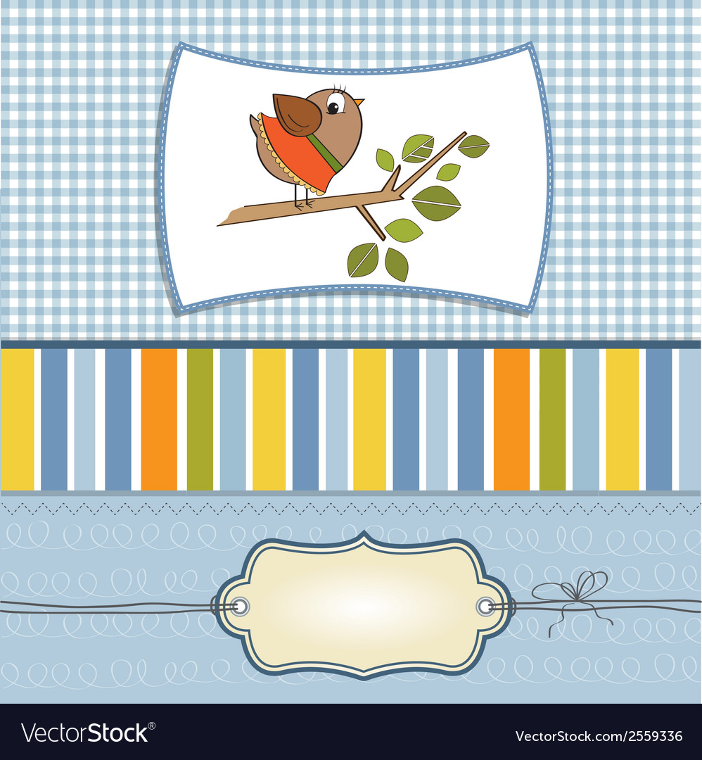 Romantic greeting with funny little bird vector | Price: 1 Credit (USD $1)