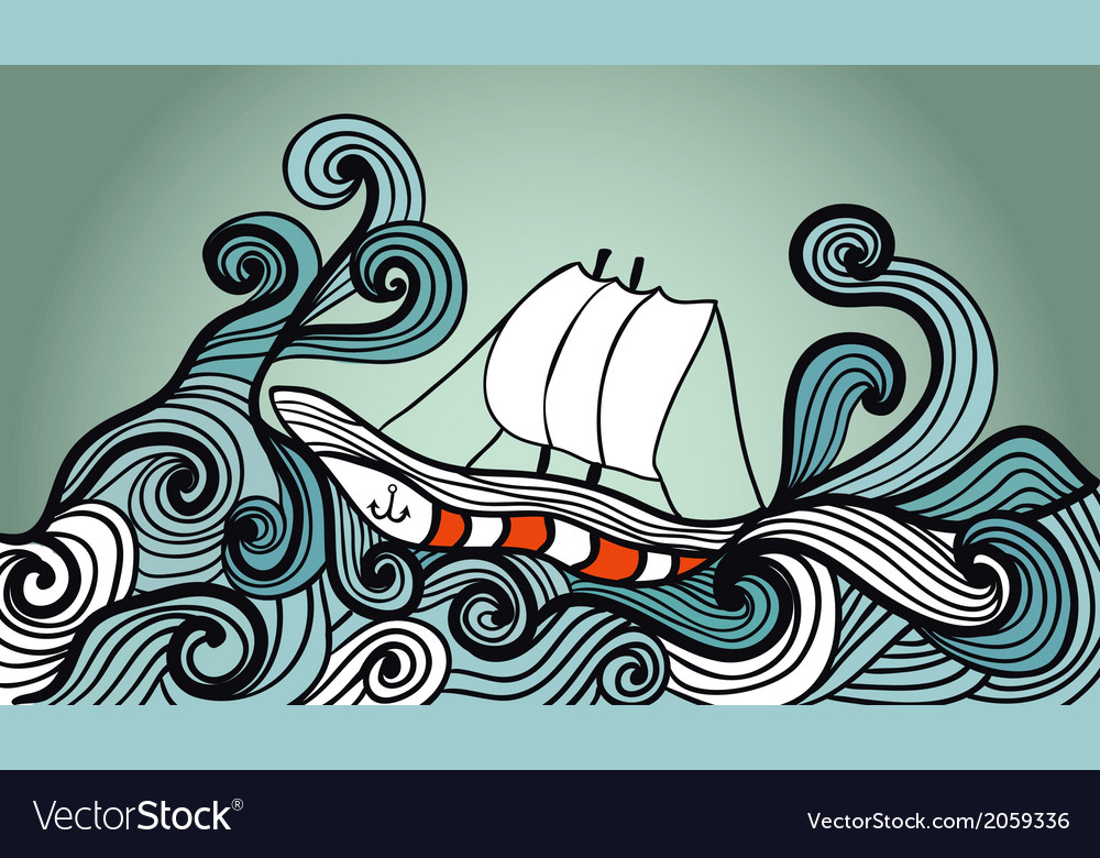 Sailing ship in the storm ocean vector | Price: 1 Credit (USD $1)