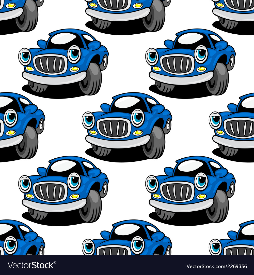 Seamless pattern of a retro blue car vector | Price: 1 Credit (USD $1)