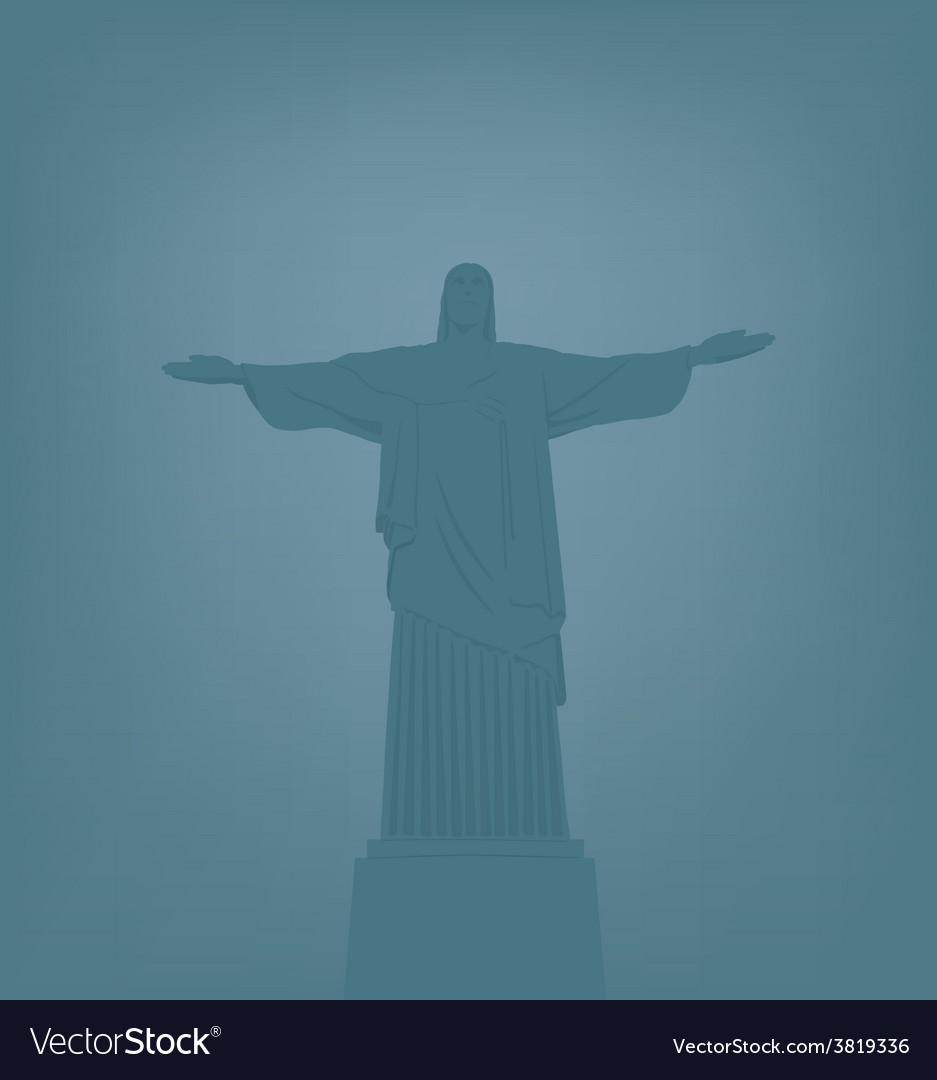 Statue of jesus christ in rio de janeiro vector | Price: 1 Credit (USD $1)