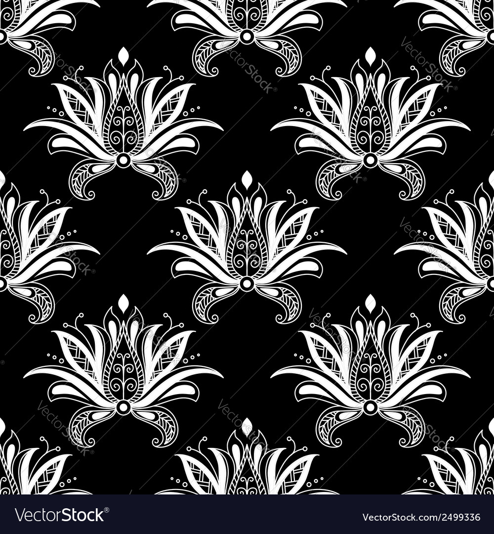 White colored floral arabesque seamless pattern vector | Price: 1 Credit (USD $1)